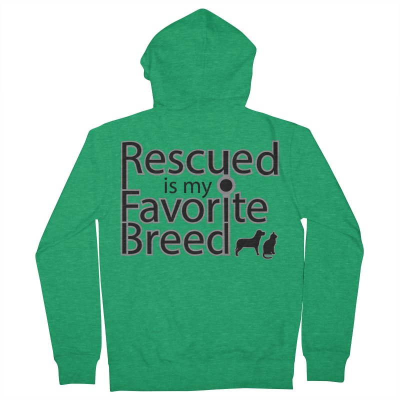 Rescued is my favorite breed Dark Mod Women's Zip-Up Hoody by Andy's Paw Prints Shop