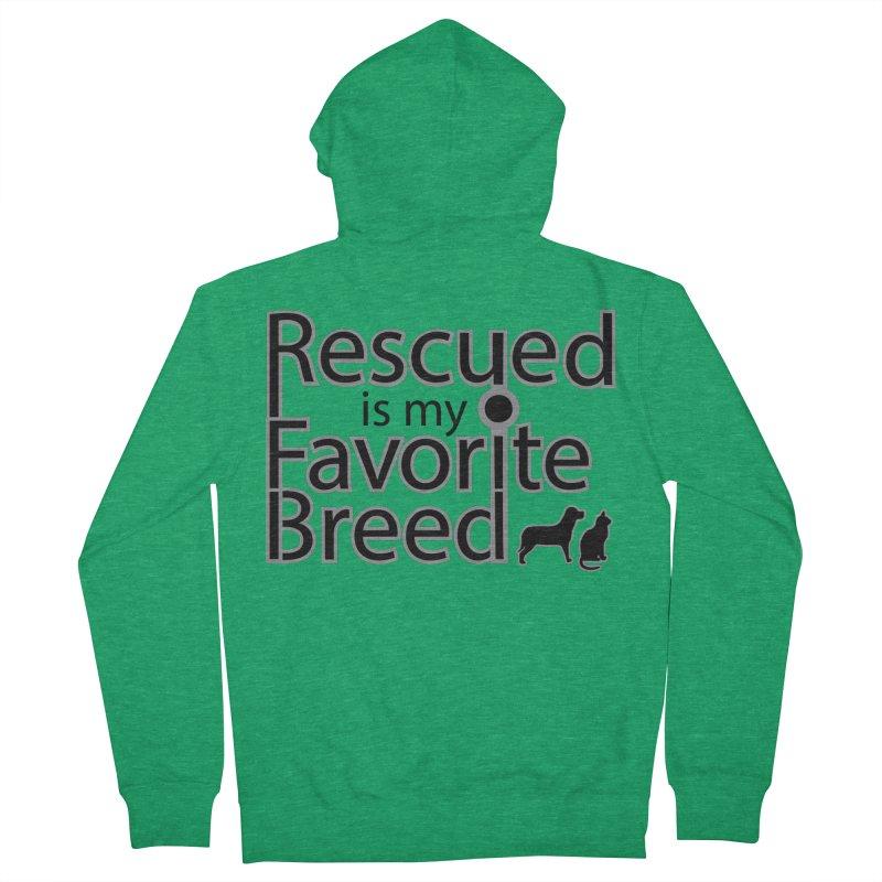 Rescued is my favorite breed Dark Mod Women's Zip-Up Hoody by Andy's Paw Prints Shop