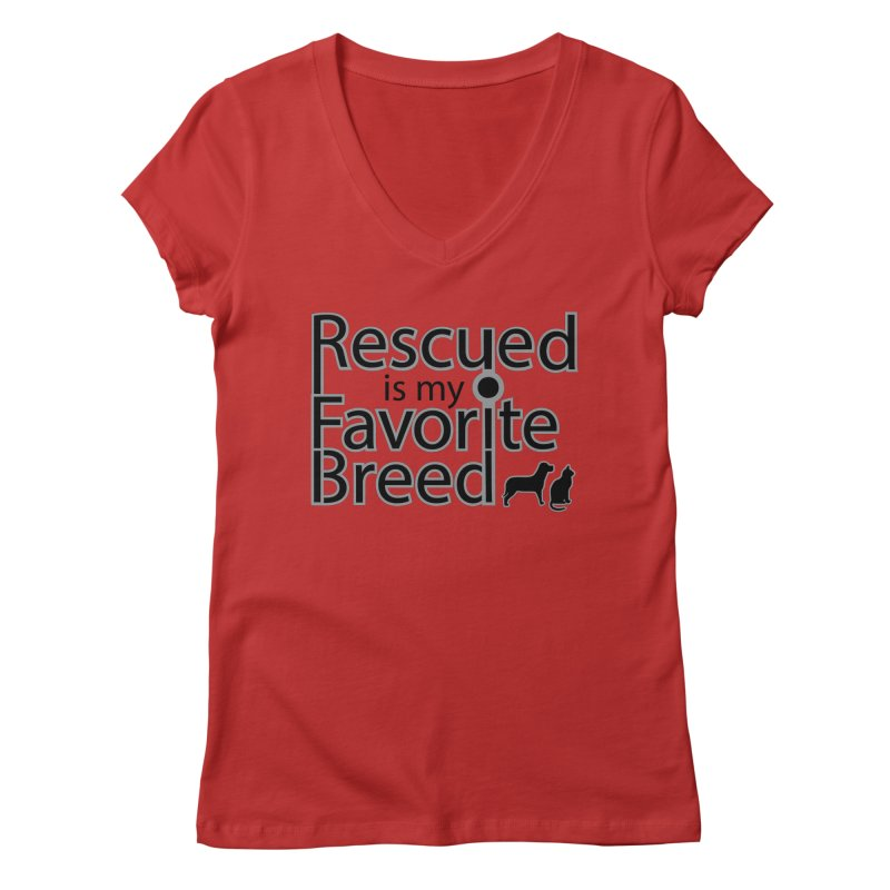 Rescued is my favorite breed Dark Mod Women's V-Neck by Andy's Paw Prints Shop