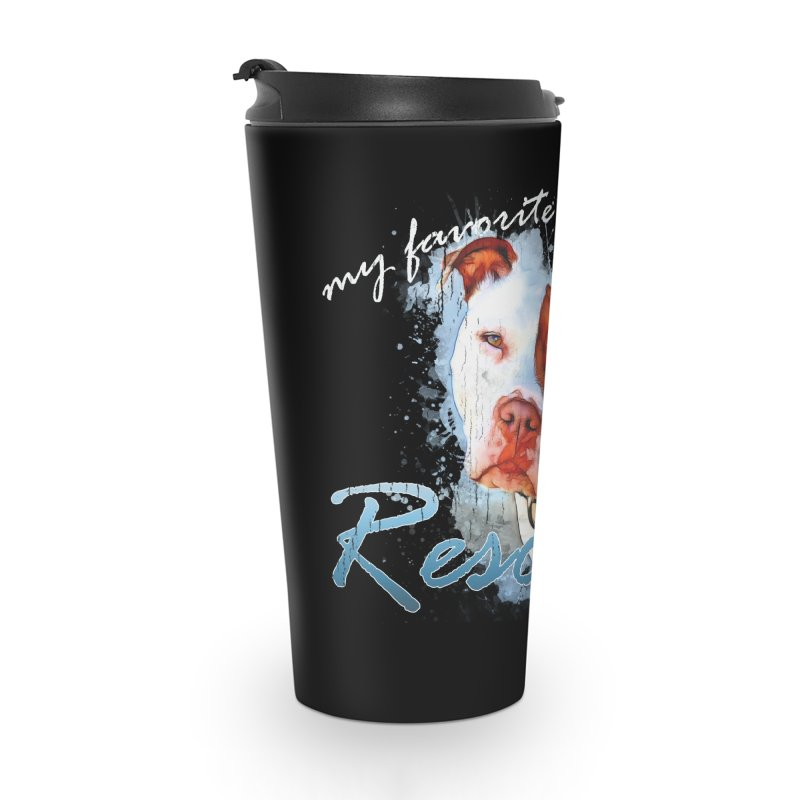 My favorite breed is rescued Watercolor 3 Accessories Travel Mug by Andy's Paw Prints Shop