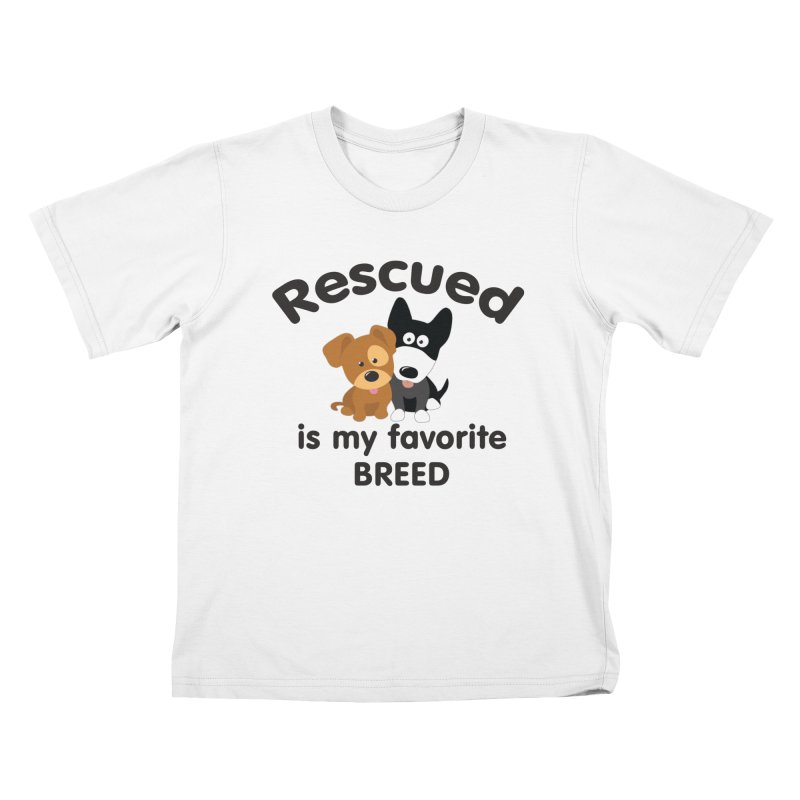 Rescued is my favorite breed Illustration 1 Kids T-Shirt by Andy's Paw Prints Shop