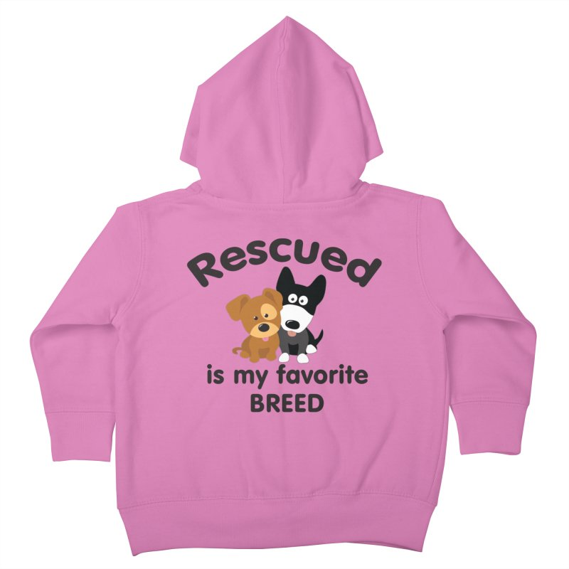 Rescued is my favorite breed Illustration 1 Kids Toddler Zip-Up Hoody by Andy's Paw Prints Shop