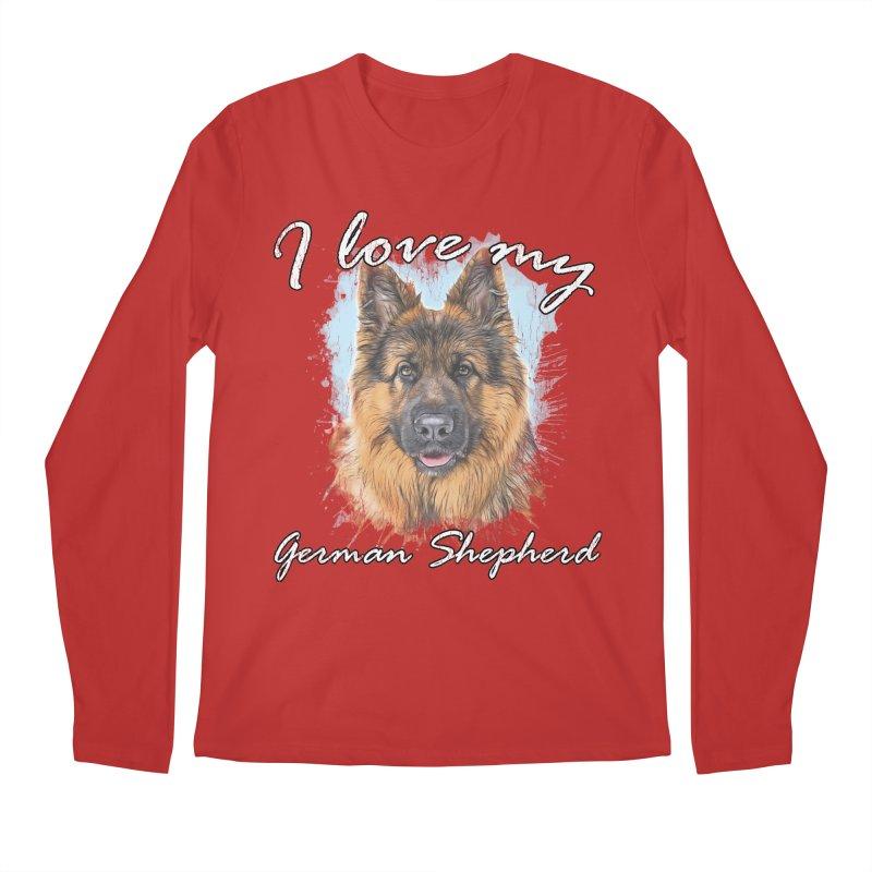 I love my German Shepherd Men's Regular Longsleeve T-Shirt by Andy's Paw Prints Shop