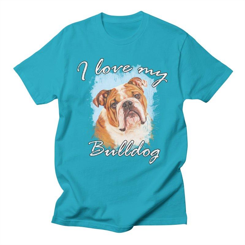 I love my Bulldog Men's Regular T-Shirt by Andy's Paw Prints Shop