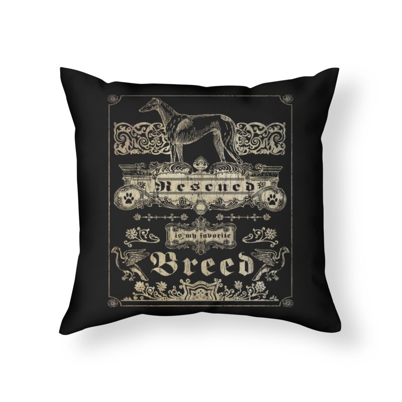 Rescued is my favorite breed Vintage Home Throw Pillow by Andy's Paw Prints Shop