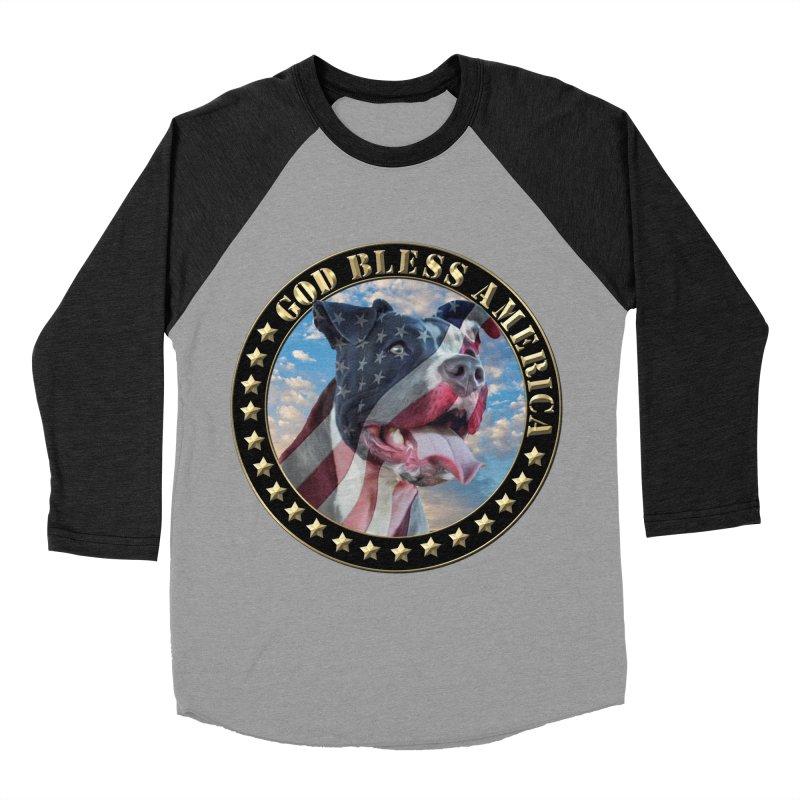God Bless America 2 Women's Baseball Triblend Longsleeve T-Shirt by Andy's Paw Prints Shop