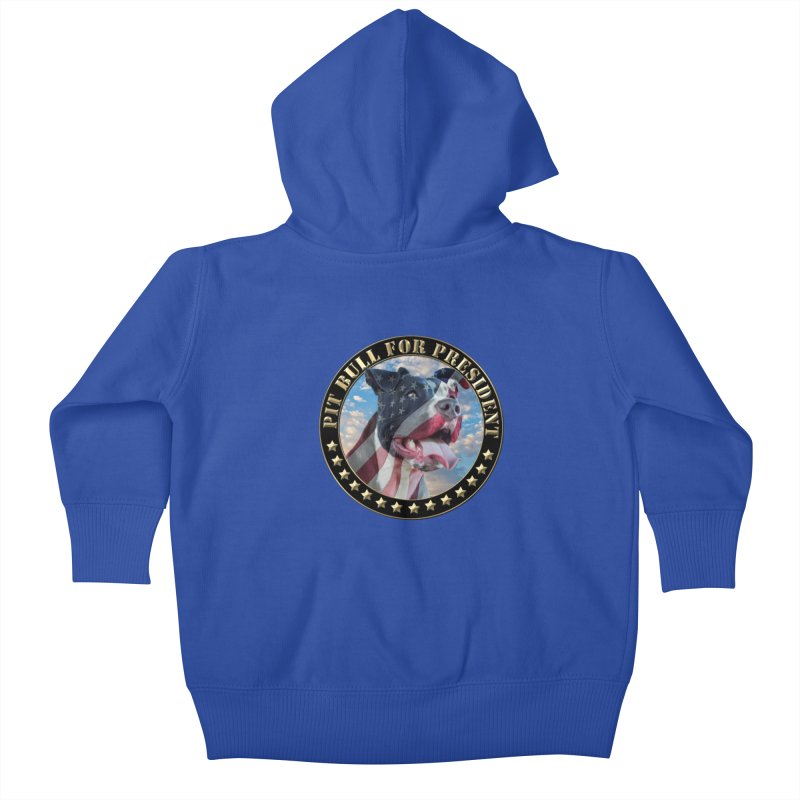 Pit Bull for president Kids Baby Zip-Up Hoody by Andy's Paw Prints Shop