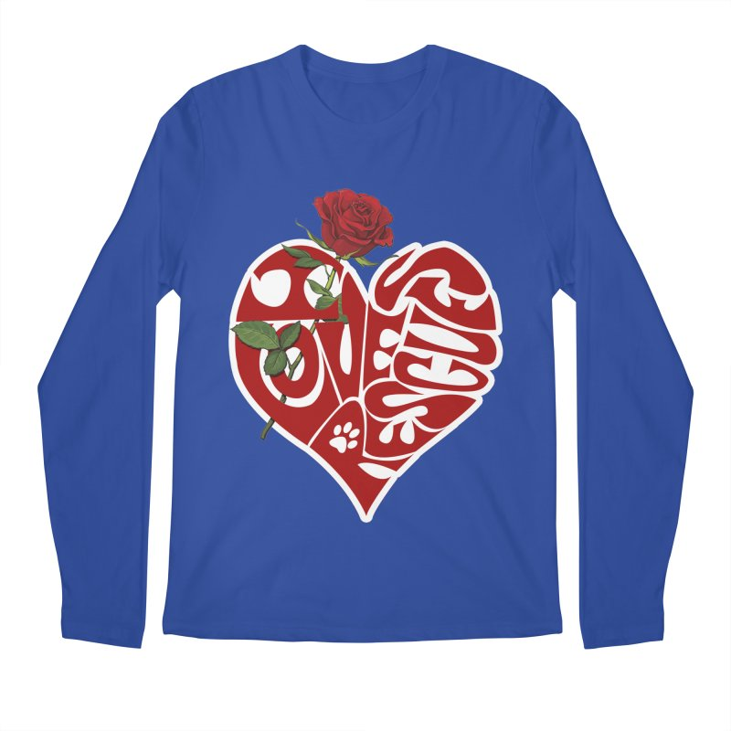 I love rescues heart Men's Regular Longsleeve T-Shirt by Andy's Paw Prints Shop