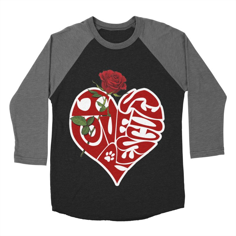 I love rescues heart Women's Baseball Triblend Longsleeve T-Shirt by Andy's Paw Prints Shop