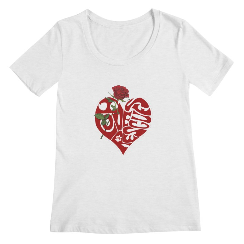 I love rescues heart Women's Regular Scoop Neck by Andy's Paw Prints Shop
