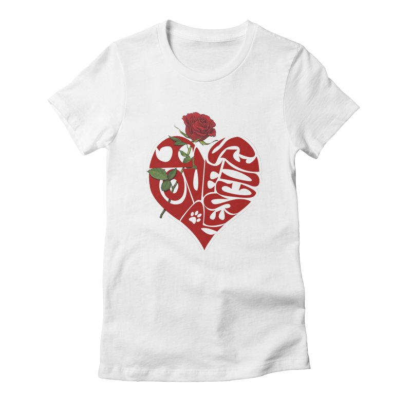 I love rescues heart Women's Fitted T-Shirt by Andy's Paw Prints Shop