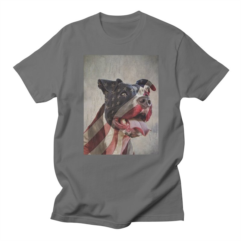 American Flag Dog Men's T-Shirt by Andy's Paw Prints Shop