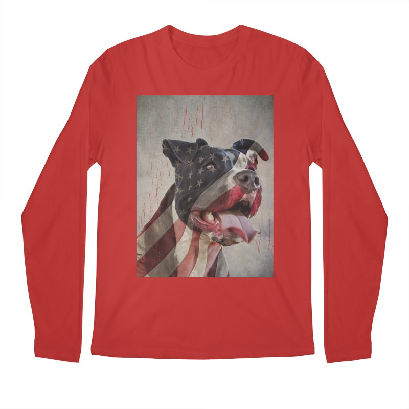 American Flag Dog Men's Regular Longsleeve T-Shirt by Andy's Paw Prints Shop