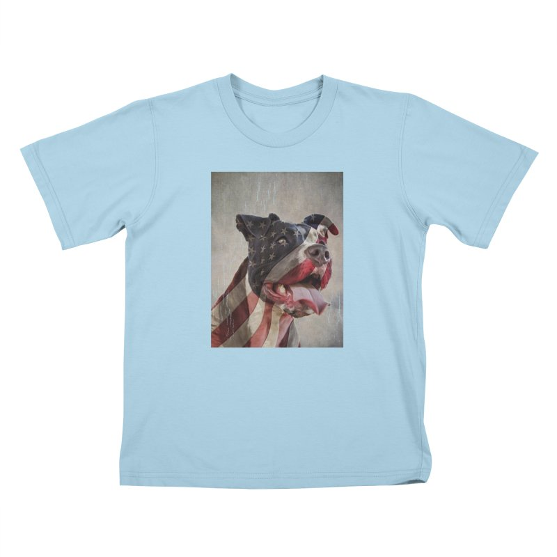 American Flag Dog Kids T-Shirt by Andy's Paw Prints Shop