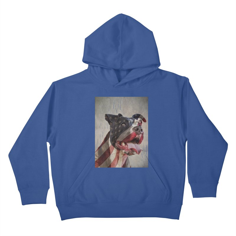 American Flag Dog Kids Pullover Hoody by Andy's Paw Prints Shop