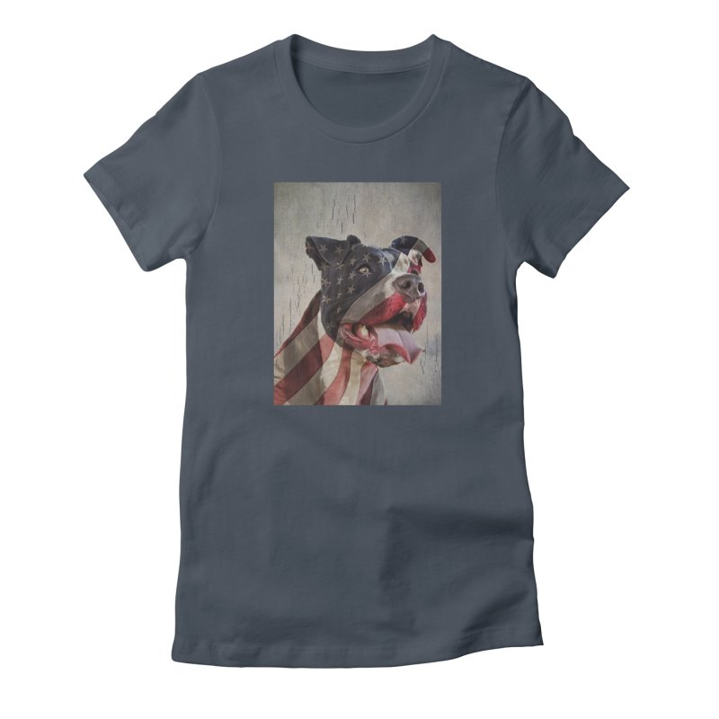 American Flag Dog Women's T-Shirt by Andy's Paw Prints Shop
