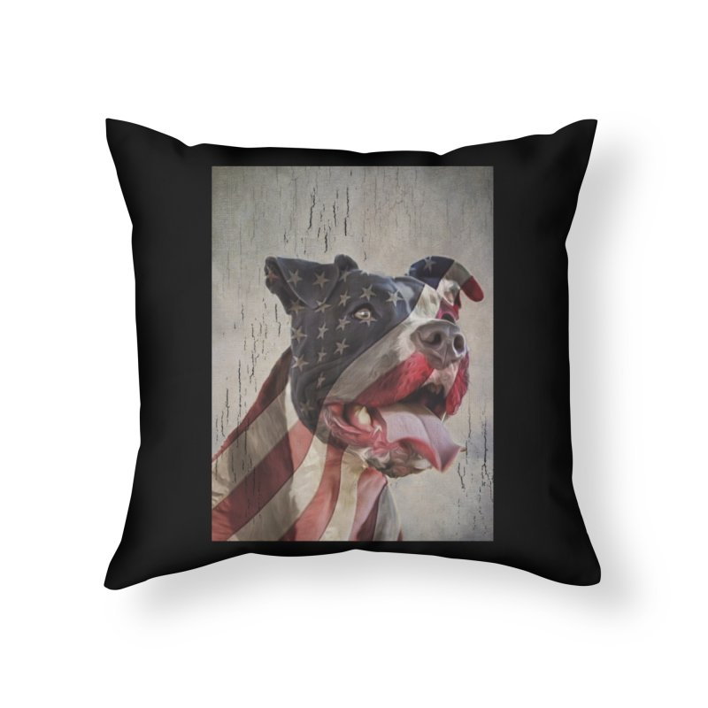 American Flag Dog Home Throw Pillow by Andy's Paw Prints Shop