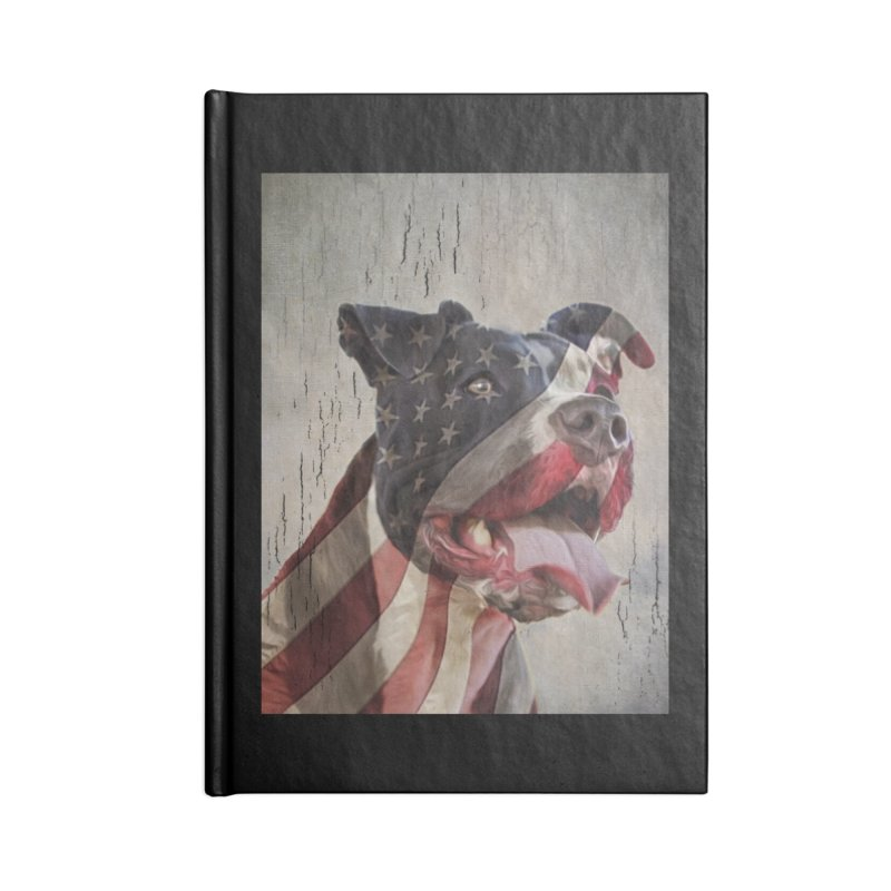American Flag Dog Accessories Blank Journal Notebook by Andy's Paw Prints Shop
