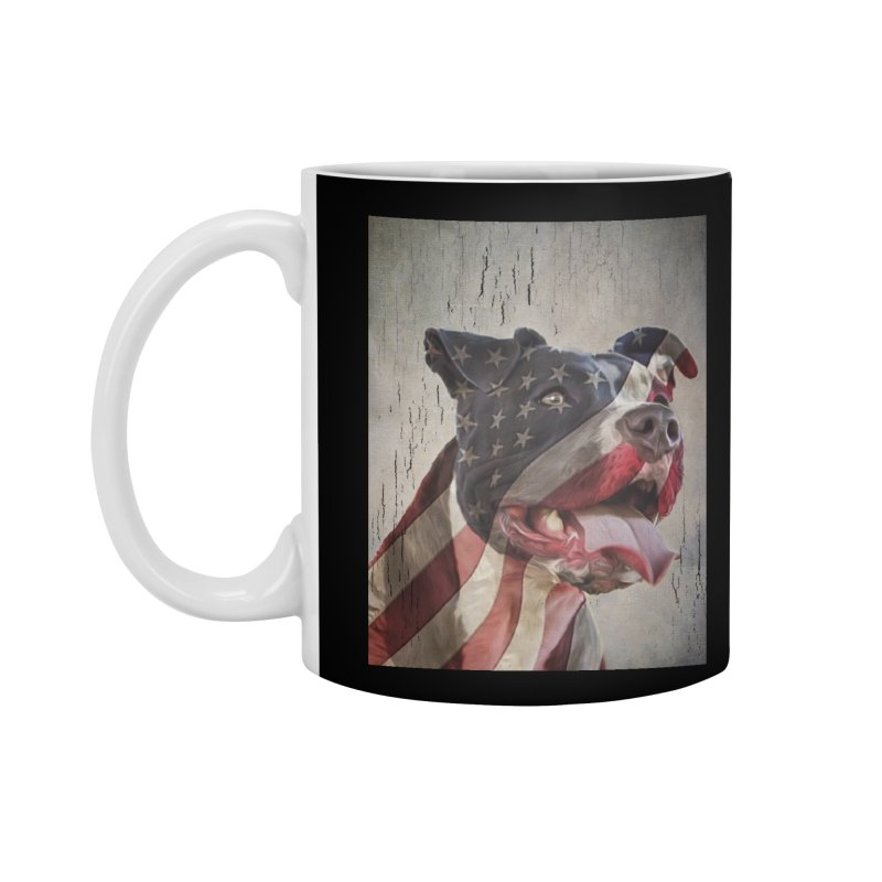 American Flag Dog Accessories Mug by Andy's Paw Prints Shop