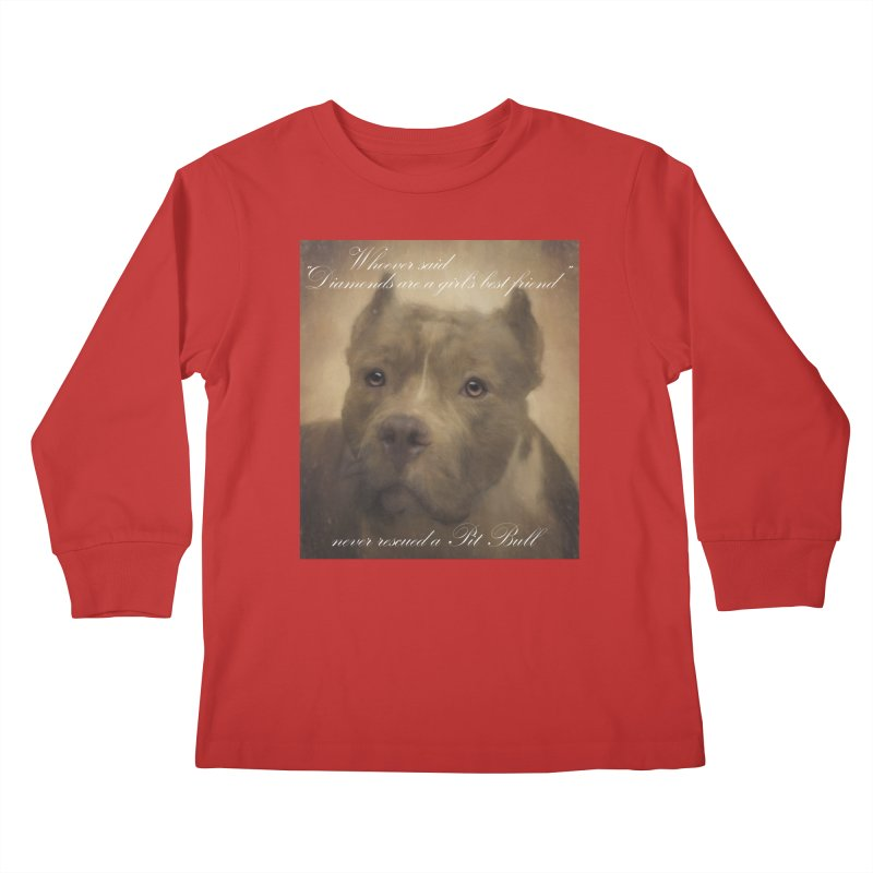 Pit Bulls are a girls best friend Kids Longsleeve T-Shirt by Andy's Paw Prints Shop