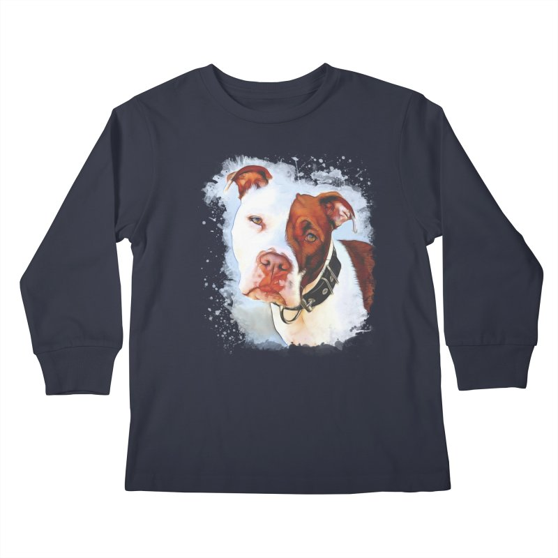 Pit Bull Kids Longsleeve T-Shirt by Andy's Paw Prints Shop
