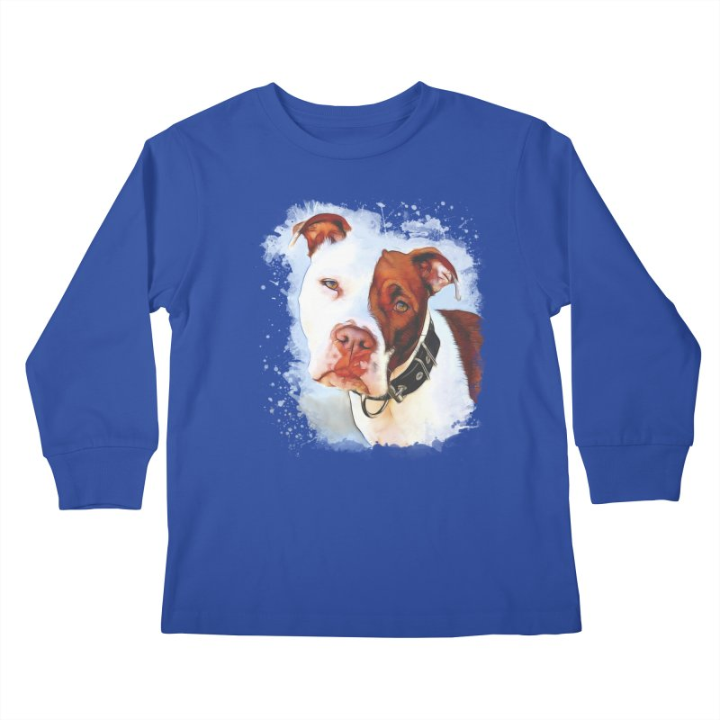 Pit Bull Kids Longsleeve T-Shirt by Andy's Paw Prints Shop