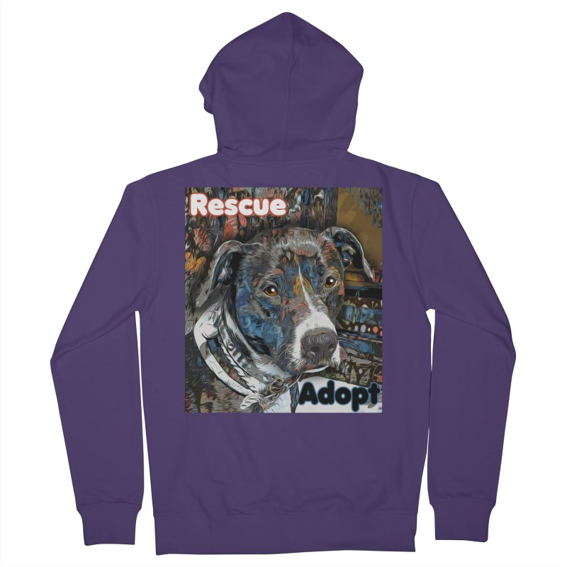 Rescue Adopt Women's Zip-Up Hoody by Andy's Paw Prints Shop