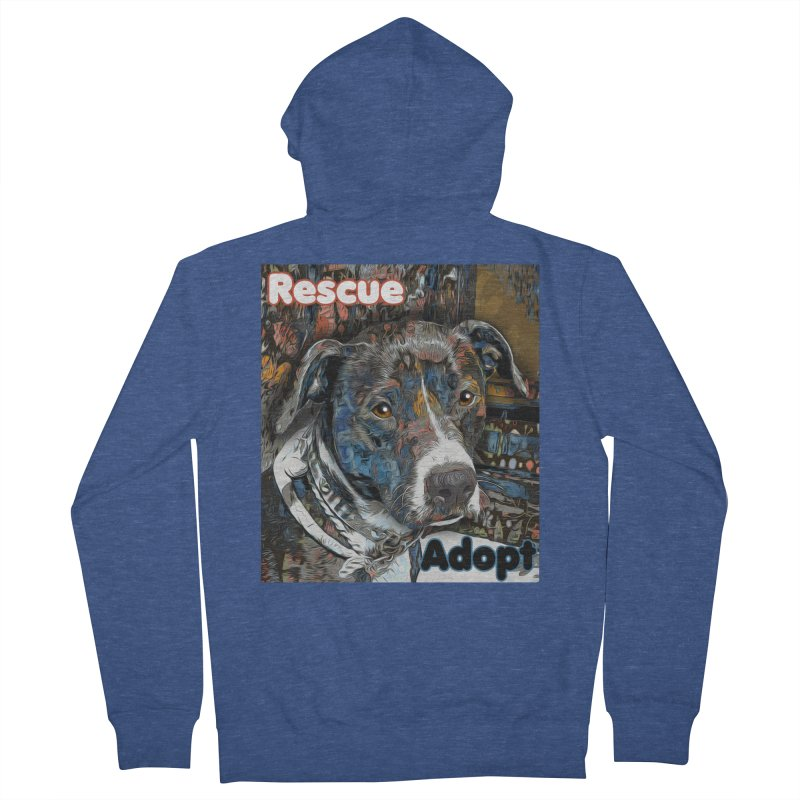 Rescue Adopt Men's Zip-Up Hoody by Andy's Paw Prints Shop