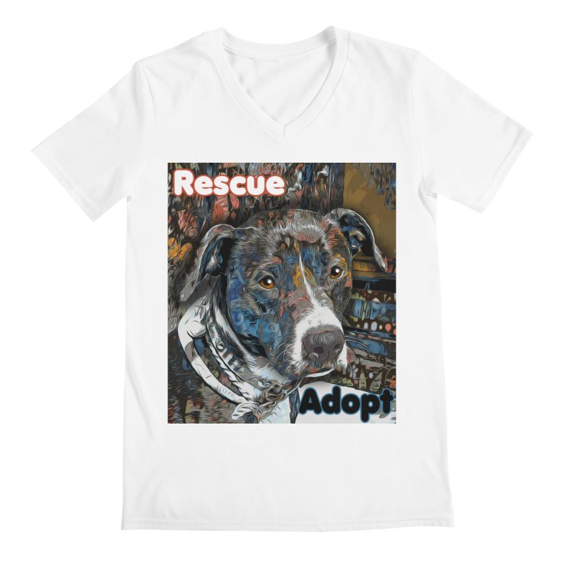 Rescue Adopt Men's V-Neck by Andy's Paw Prints Shop