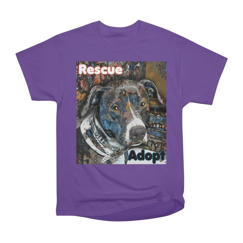 Rescue Adopt Women's Heavyweight Unisex T-Shirt by Andy's Paw Prints Shop