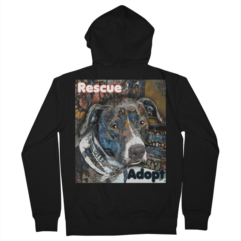 Rescue Adopt Men's French Terry Zip-Up Hoody by Andy's Paw Prints Shop