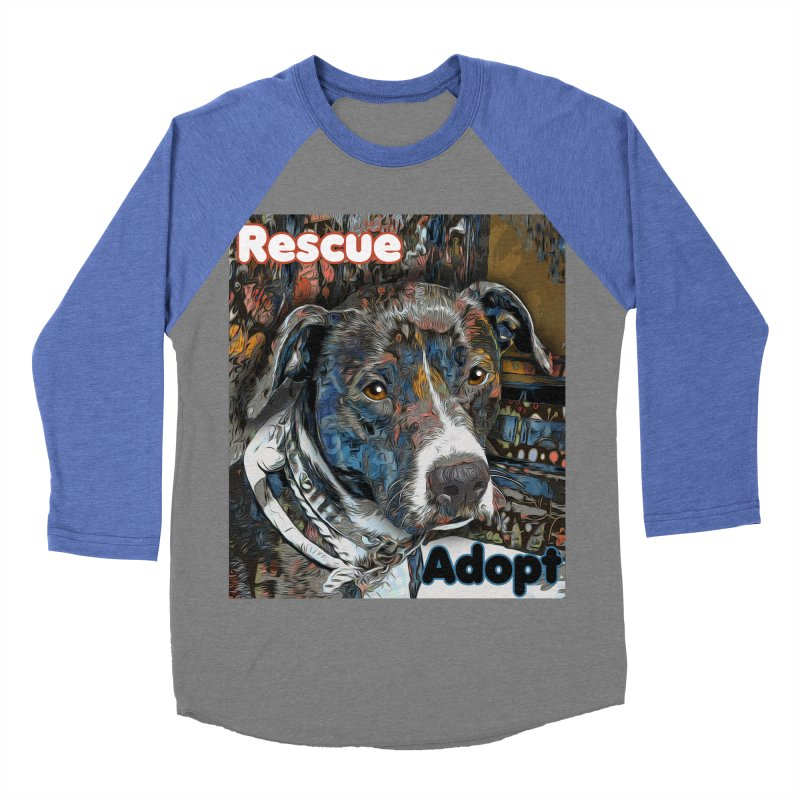 Rescue Adopt Women's Baseball Triblend Longsleeve T-Shirt by Andy's Paw Prints Shop