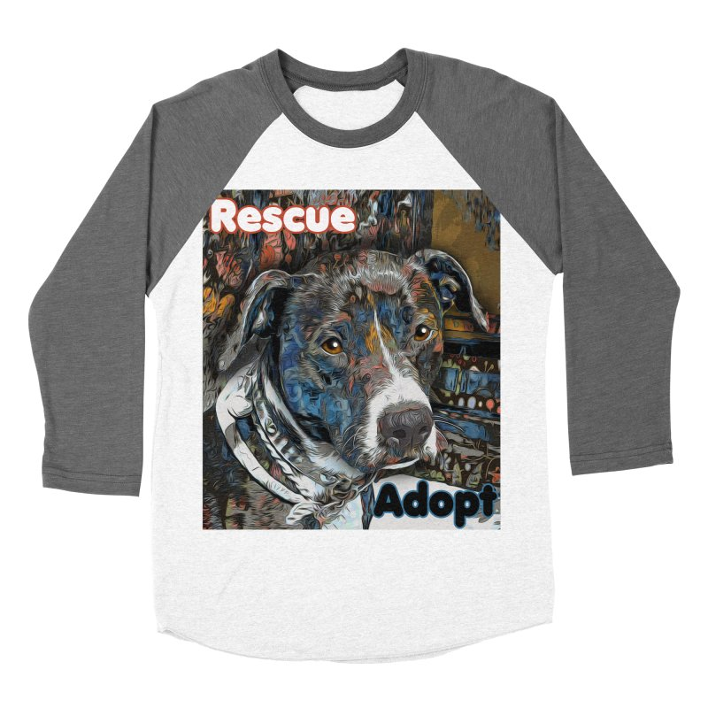 Rescue Adopt Men's Baseball Triblend Longsleeve T-Shirt by Andy's Paw Prints Shop
