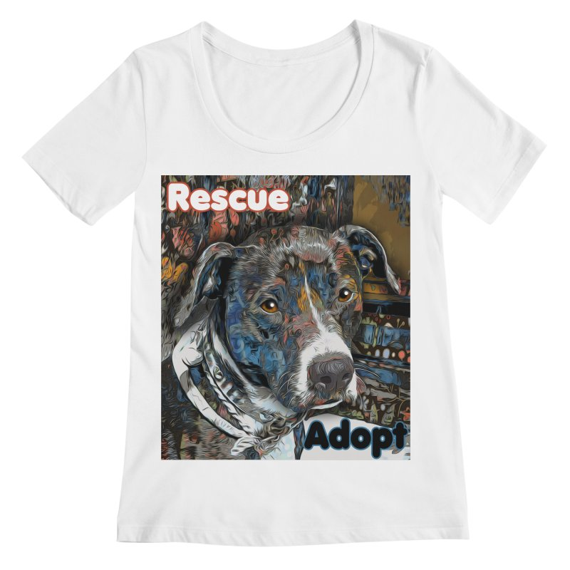 Rescue Adopt Women's Regular Scoop Neck by Andy's Paw Prints Shop