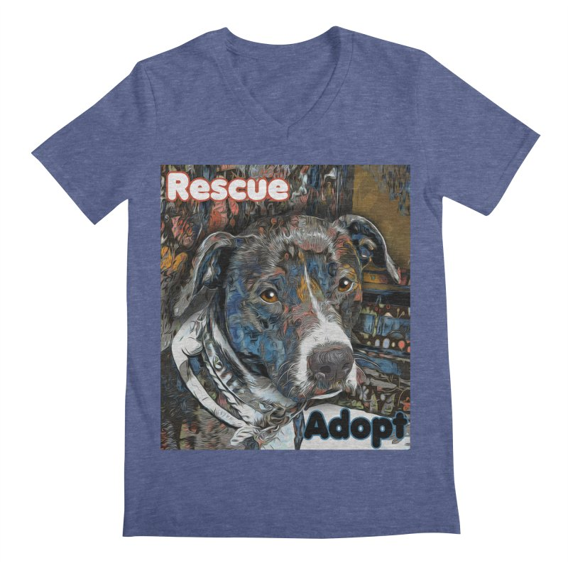 Rescue Adopt Men's Regular V-Neck by Andy's Paw Prints Shop