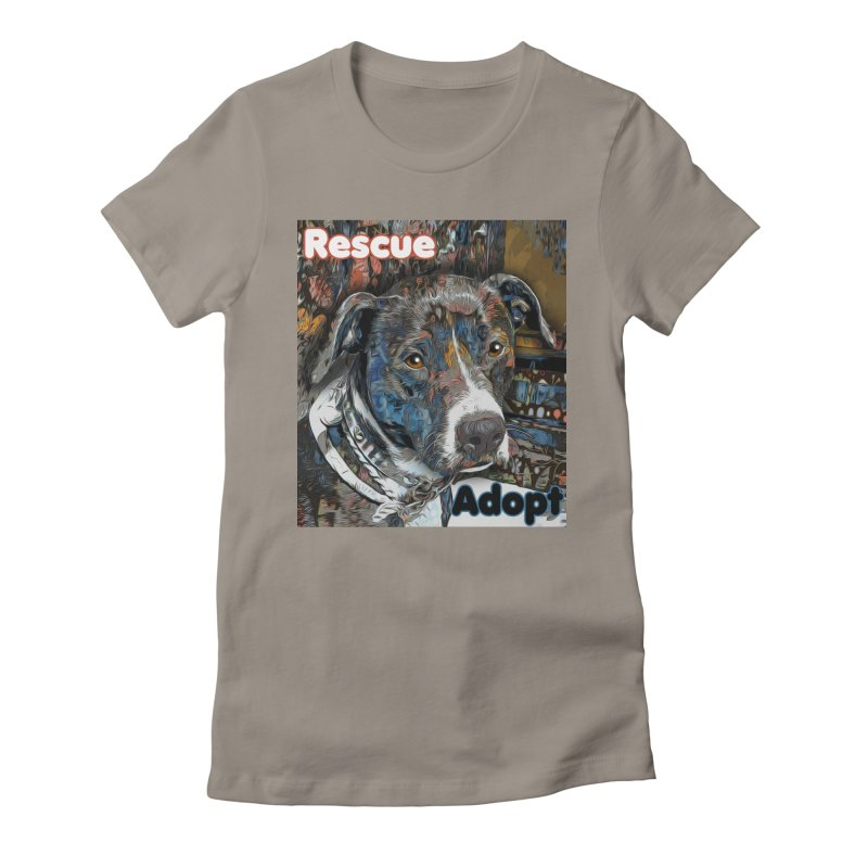 Rescue Adopt Women's Fitted T-Shirt by Andy's Paw Prints Shop