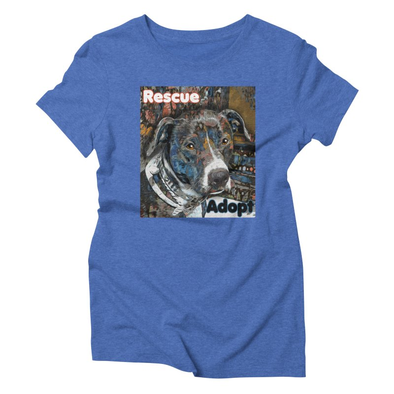 Rescue Adopt Women's Triblend T-Shirt by Andy's Paw Prints Shop