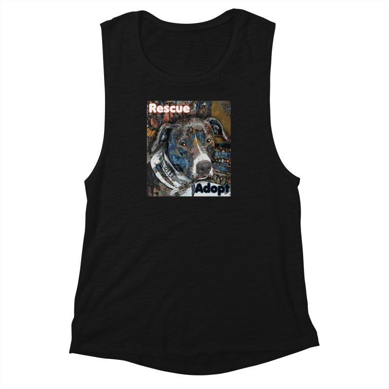 Rescue Adopt Women's Muscle Tank by Andy's Paw Prints Shop