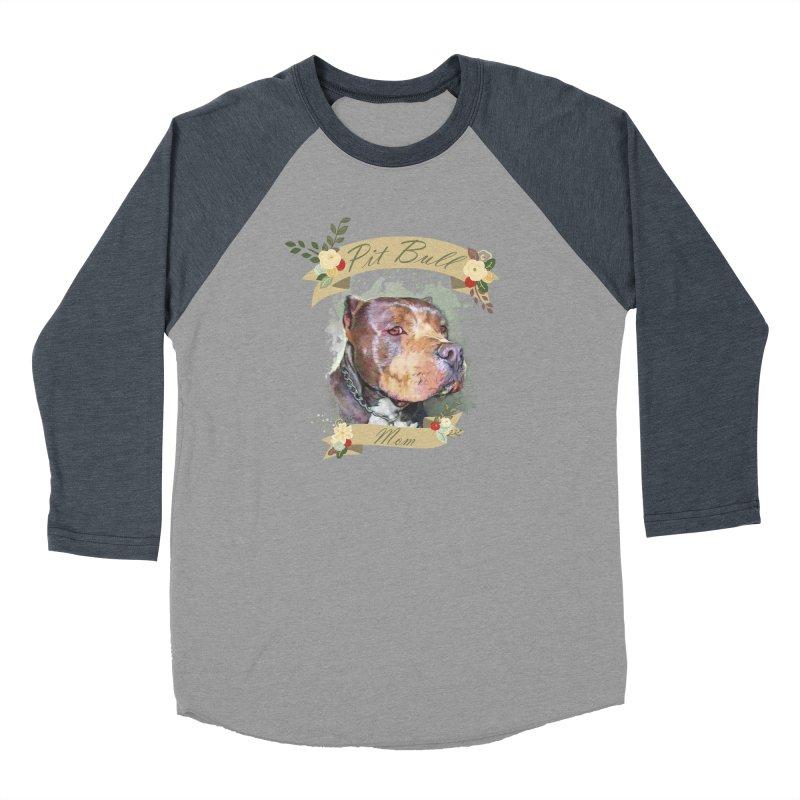 Pit Bull Mom Women's Baseball Triblend Longsleeve T-Shirt by Andy's Paw Prints Shop