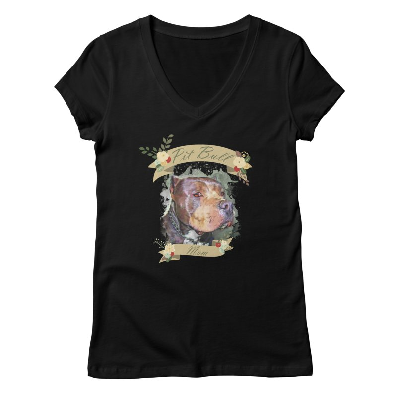 Pit Bull Mom Women's V-Neck by Andy's Paw Prints Shop