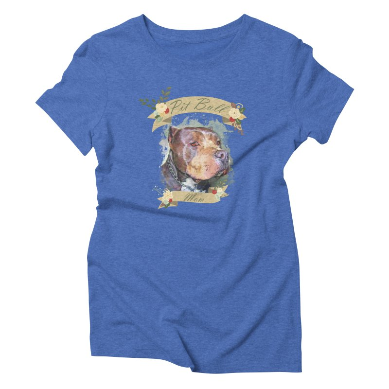 Pit Bull Mom Women's Triblend T-Shirt by Andy's Paw Prints Shop