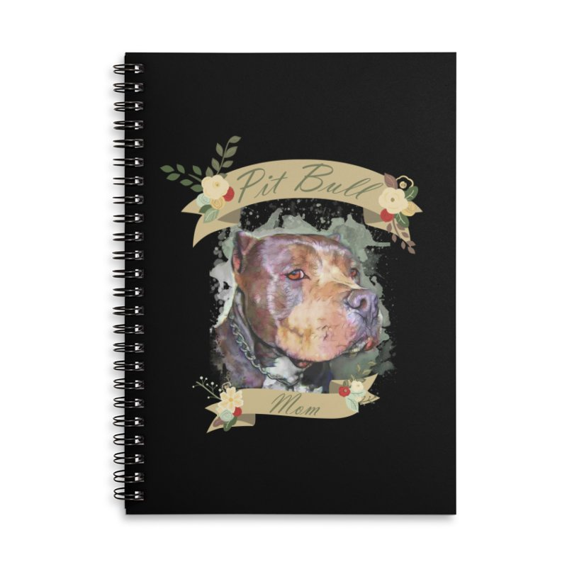 Pit Bull Mom Accessories Lined Spiral Notebook by Andy's Paw Prints Shop