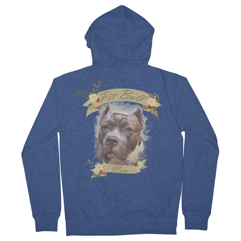 Pit Bull Mom 2 Women's French Terry Zip-Up Hoody by Andy's Paw Prints Shop