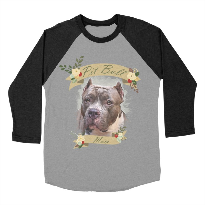 Pit Bull Mom 2 Women's Baseball Triblend Longsleeve T-Shirt by Andy's Paw Prints Shop