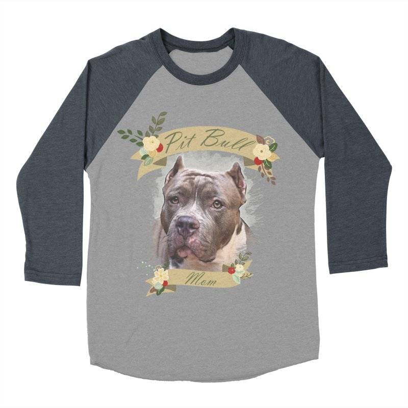 Pit Bull Mom 2 Women's Baseball Triblend Longsleeve T-Shirt by Andy's Paw Prints Shop