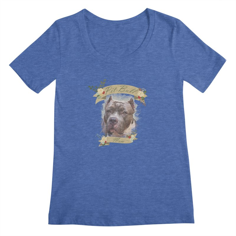 Pit Bull Mom 2 Women's Regular Scoop Neck by Andy's Paw Prints Shop