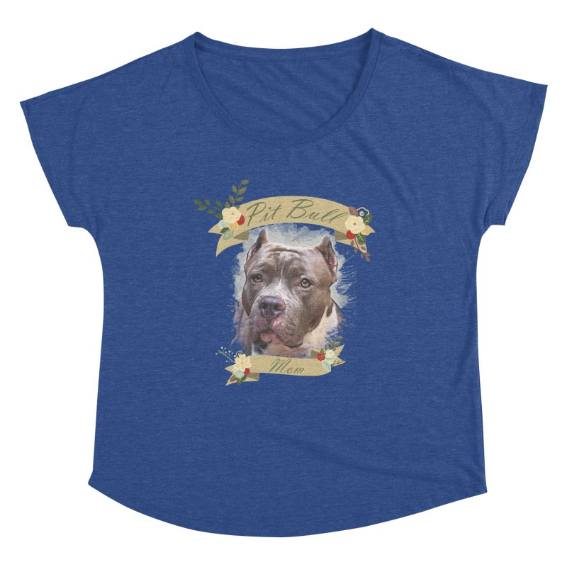 Pit Bull Mom 2 Women's Dolman Scoop Neck by Andy's Paw Prints Shop