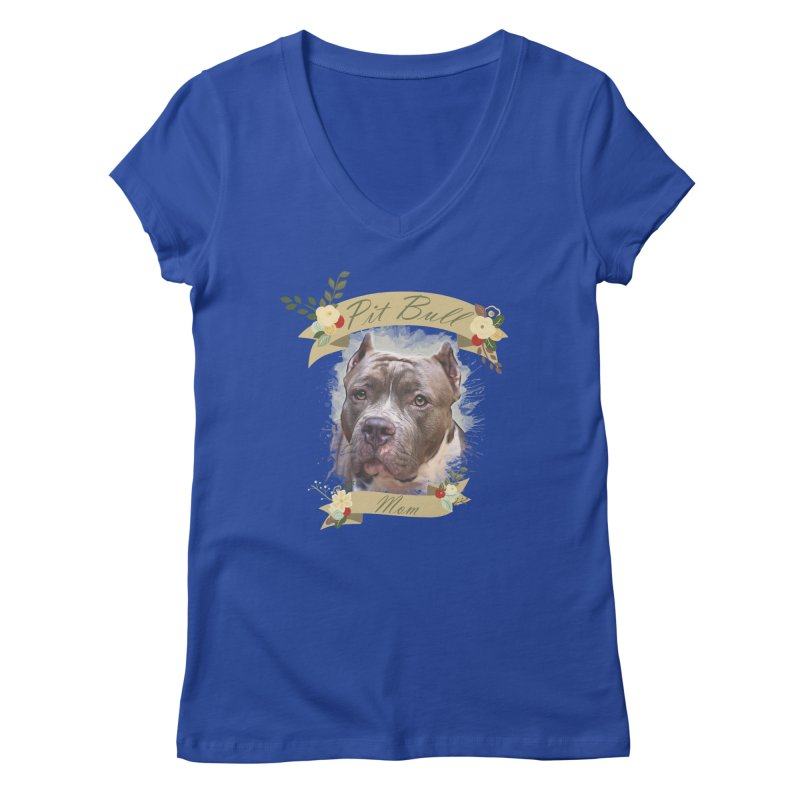 Pit Bull Mom 2 Women's Regular V-Neck by Andy's Paw Prints Shop