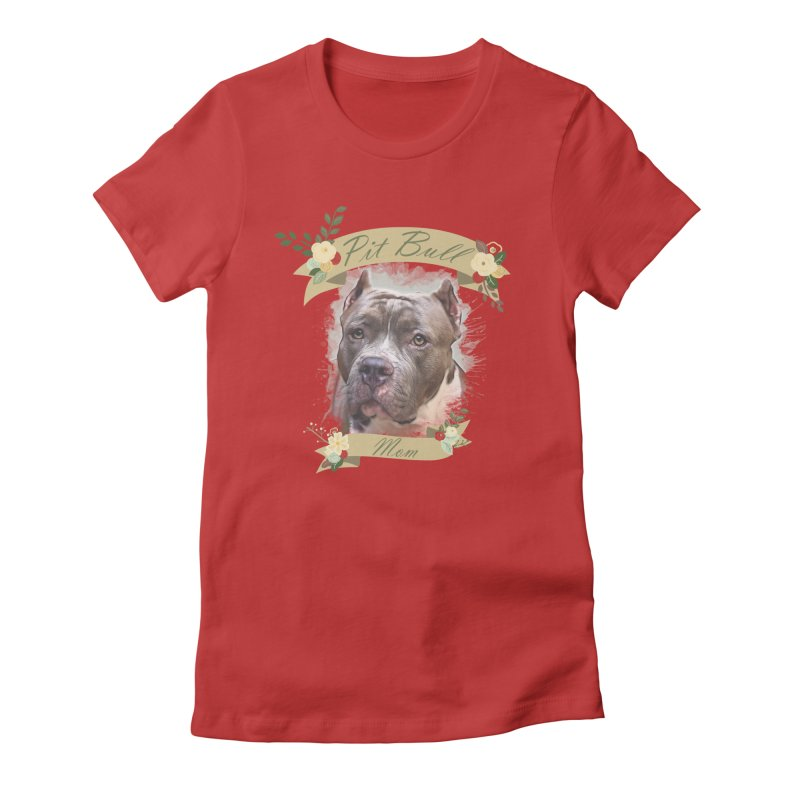Pit Bull Mom 2 Women's T-Shirt by Andy's Paw Prints Shop