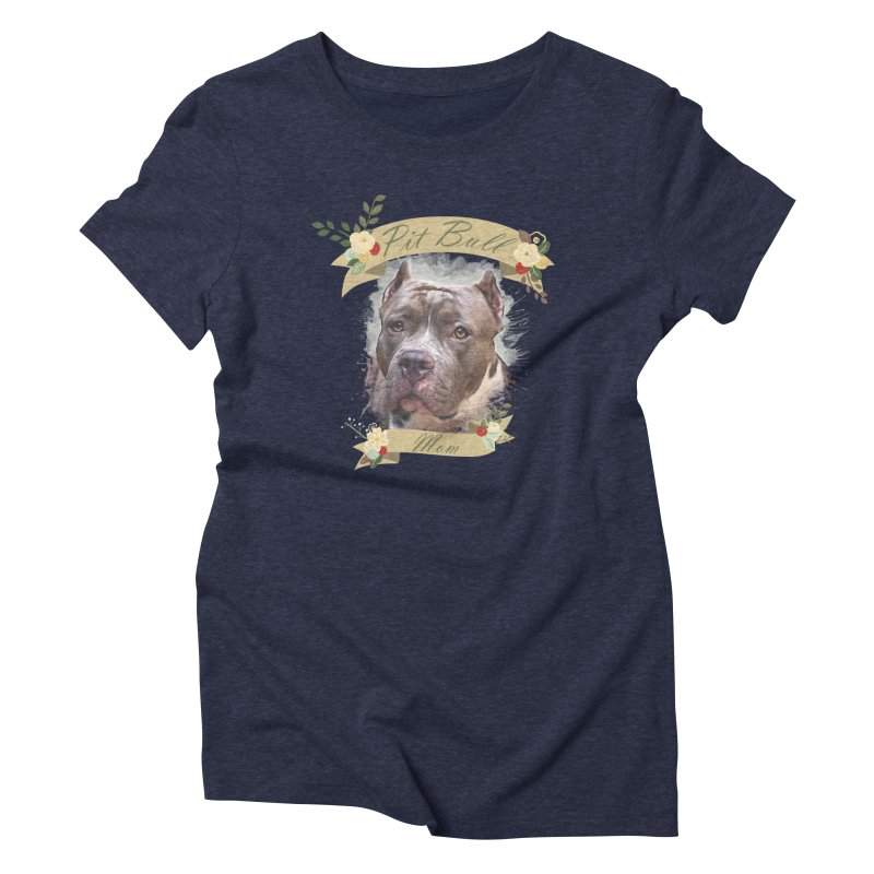 Pit Bull Mom 2 Women's Triblend T-Shirt by Andy's Paw Prints Shop